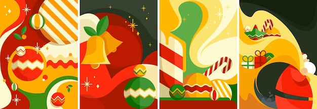 Set of christmas posters. different postcards templates.