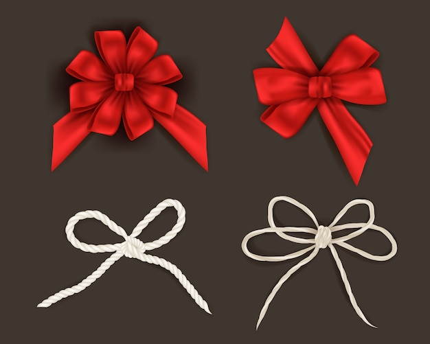 Set of christmas ribbons different red ribbons