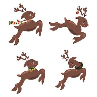 Set of christmas running deer. collection of cartoon deer santa. stylized animals.