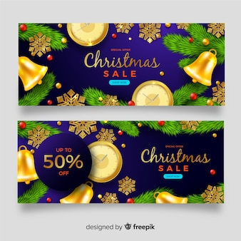 Set of christmas sale banners