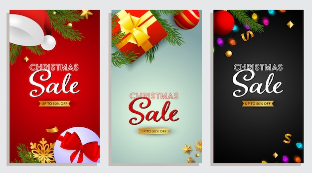 Set of christmas sale design with presents and confetti