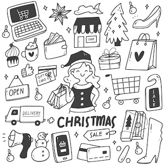 Set of christmas sale doodles