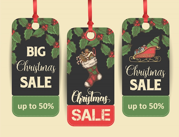 Set of christmas sale price tags or labels