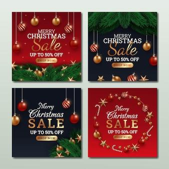 Set of christmas sale social media illustration