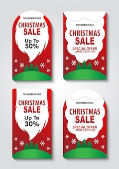 Set of christmas sale tag with santa beard