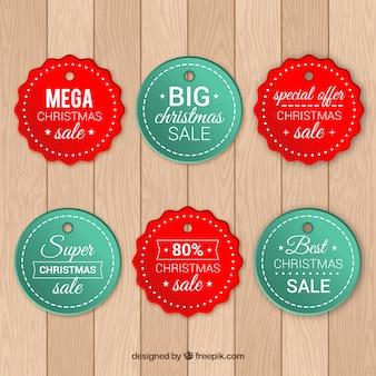 Set of christmas sale tags