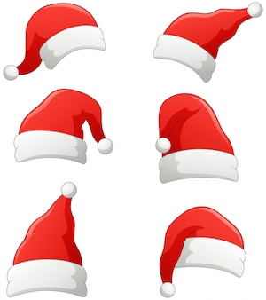 Set of christmas santa claus hats isolated on white