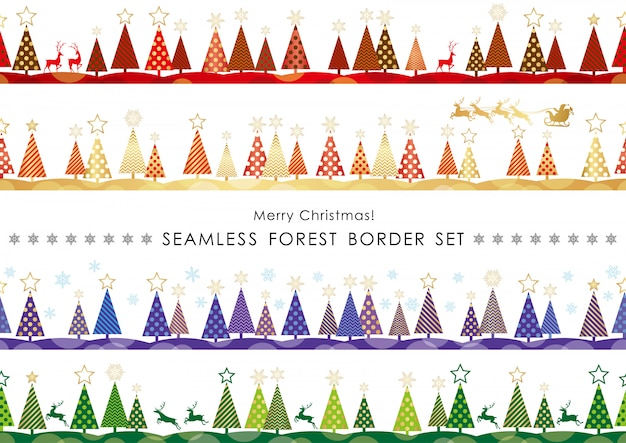 Set of christmas seamless forest borders