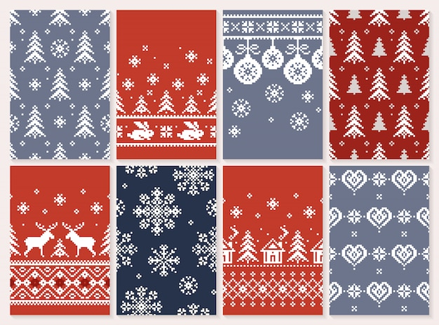 Set of christmas seamless  pattern endless texture for wallpaper retro style.