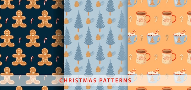 Set of christmas seamless pattern.