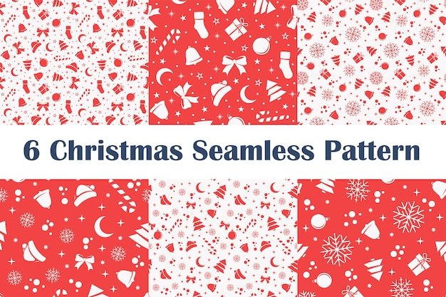 Set of christmas seamless patterns on red and white background.