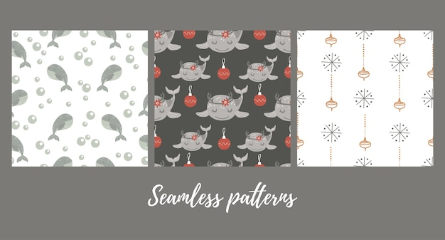 Set of christmas seamless patterns with baby whale .