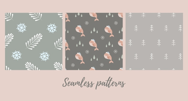 Set of  christmas seamless patterns with baby whale