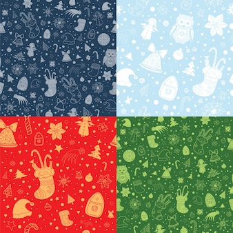 Set of christmas seamless patterns with christmas attributes. silhouette and contour shapes on red, green and blue