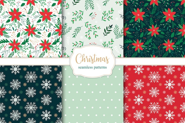 Set of christmas seamless patterns with poinsettia branches, leaves and berries and snowflakes.