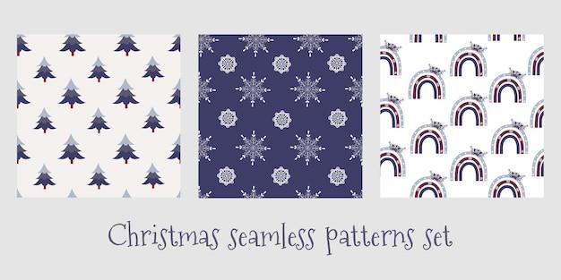 Set of christmas seamless patterns