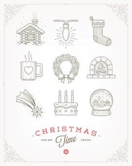 Set of christmas signs and symbols.