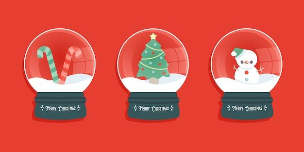 Set of christmas snow globes
