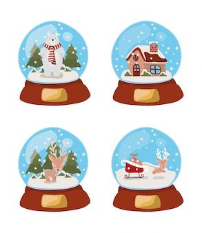 Set of christmas snowballs