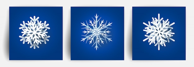 Set of christmas snowflakes. paper cut   elements. christmas papercut snow flake.  illustration.