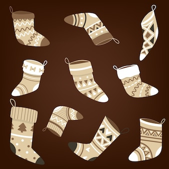 Set of christmas socks with a pattern