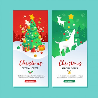 Set of christmas special offer banner