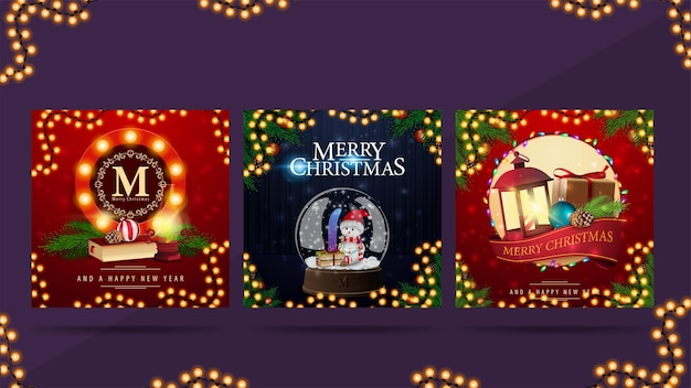 Set of christmas square postcards with round greeting symbols decorated with christmas icons