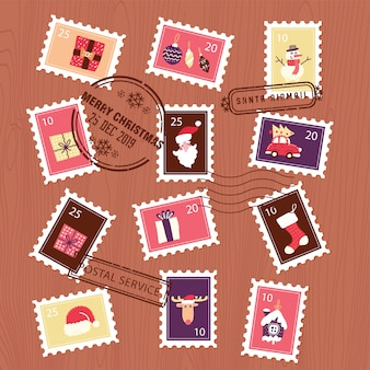 Set of christmas stamps for envelope