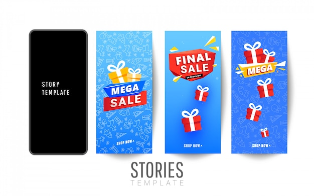 Set of christmas stories sale banner with red surprise gift boxes and snow