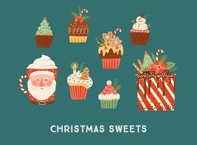 Set of christmas sweets and drink. vector illustration.