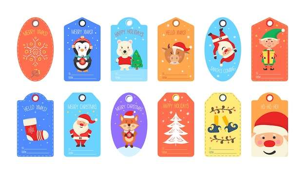 Set of christmas tag cute. collection of gift tags and cards merry christmas and happy new year. creative handmade textures for winter holidays.