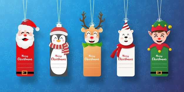 Set of christmas tag with santa claus and friends
