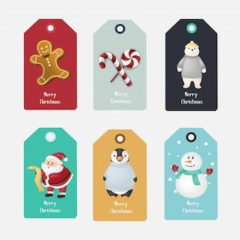 Set of christmas tag