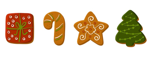 Set of christmas tasty homemade cakes gingerbread cookie collection happy new year cute illustration