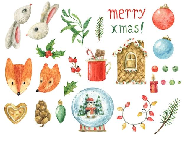 Set on a christmas theme  (snow globe, gingerbread house, garland, checker with chocolate, christmas balls) cute animals (hare, fox, bull)