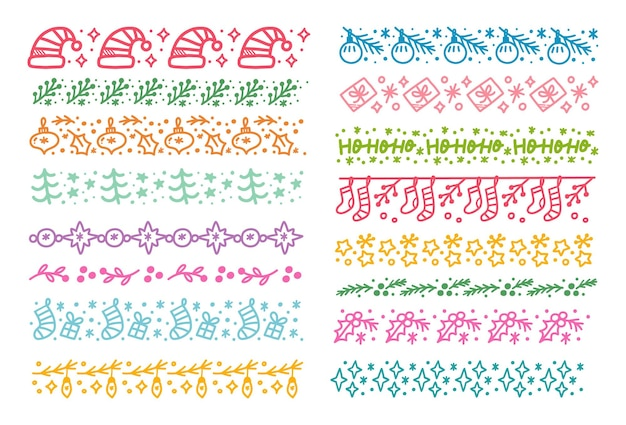 Set of christmas themed seamless pattern brush doodle vector illustration