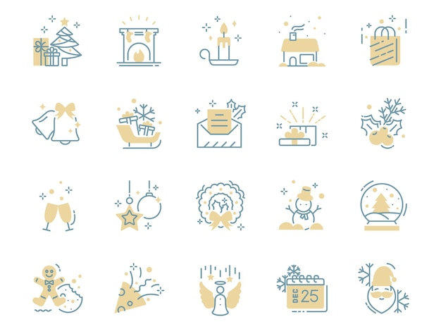 Set of christmas thin line icons, winter, holiday, new year