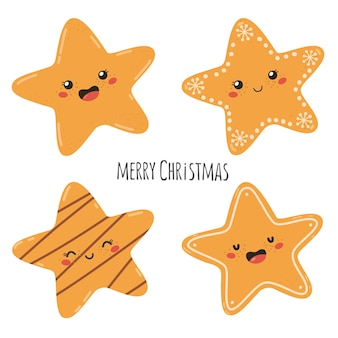 Set of christmas traditional cookies in the shape of stars with the text merry christmas vector ill