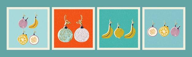 Set of christmas tree decorations illustrations