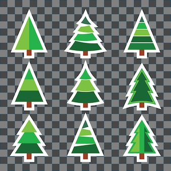 Set of christmas tree sticker set on transparent background design for new year or xmas holiday invitation, greeting card, flyer, brochure cover, or other typography. vector illustration.