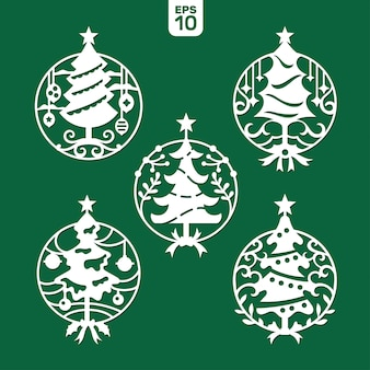 Set of christmas tree template for laser and plotter cutting.