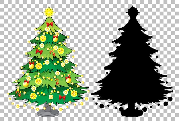 Set di albero di natale su sfondo trasparente