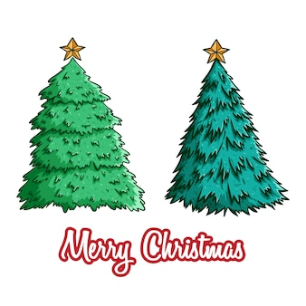 Set of christmas tree with star using colored doodle style
