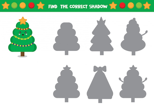 Set of christmas trees. find differences. educational worksheet