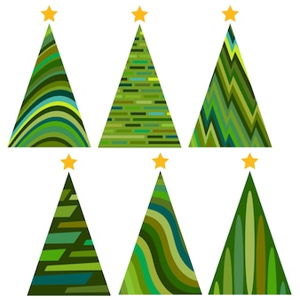 Set of christmas trees. isolated vector illustration for merry christmas and happy new year.