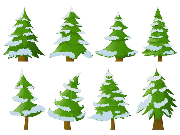 Set of christmas trees with snow