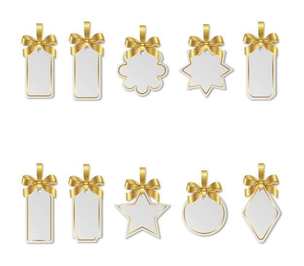 Set of christmas white price tags with gold bows