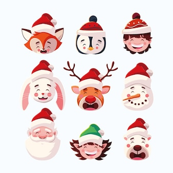 Set of christmas with head santa claus and animals