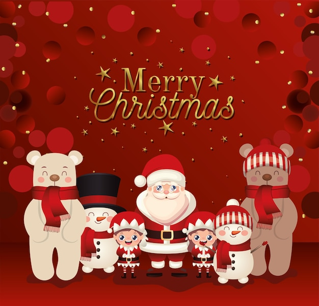 Set of christmas with merry christmas lettering  illustration