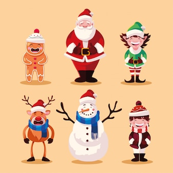 Set of christmas with santa claus and animals